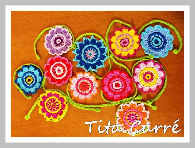 Flores em crochet  para colorir