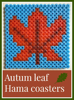 Autumn leaf Hama bead coaster designs
