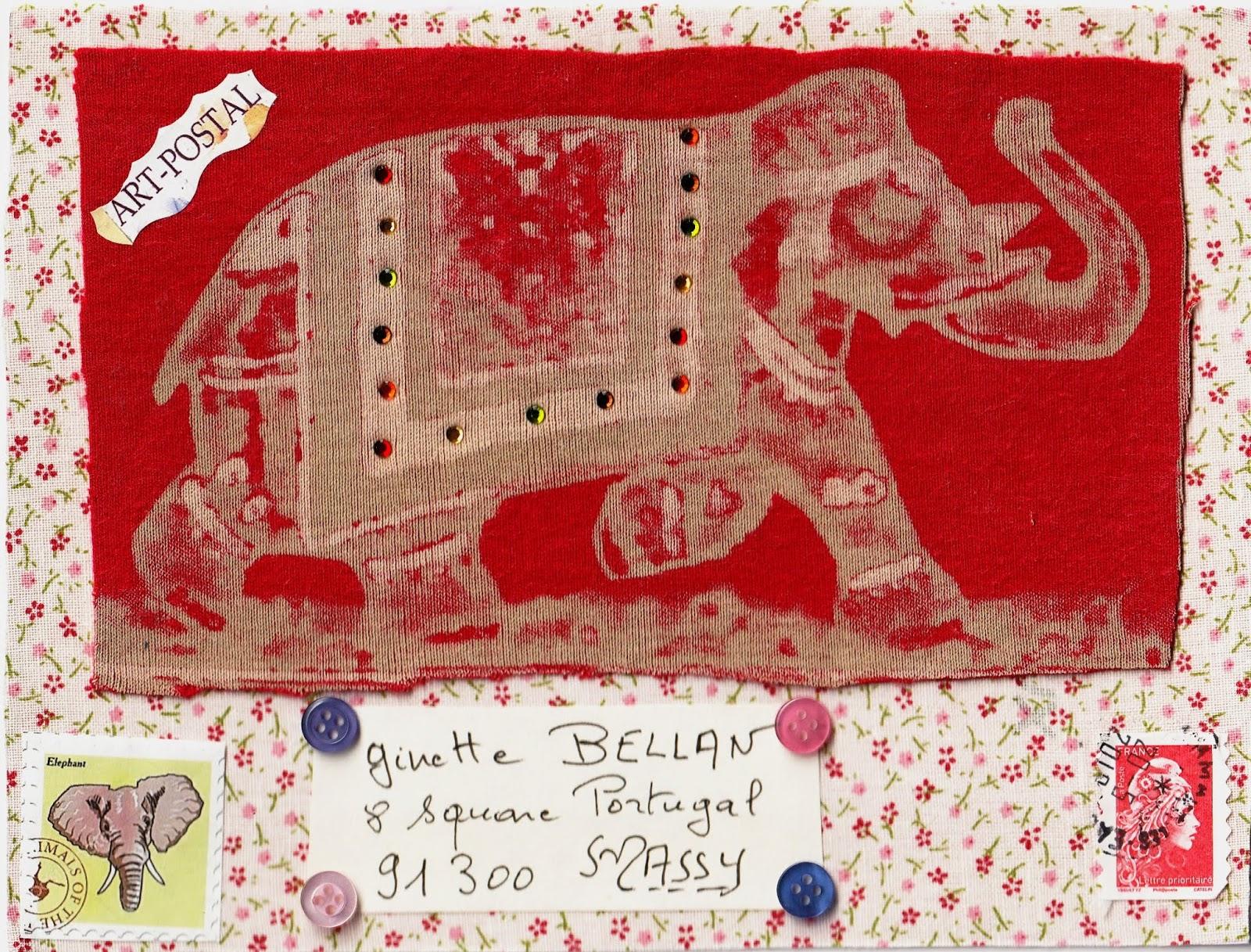 75b15b620fba61 Thérèse a fait très fort avec sa carte intégralement textile, où sur un  tissu semé de fleurettes se détache sur fond rouge un bel éléphant d'Asie,  ...
