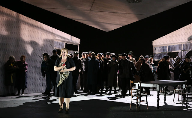 English National Opera - Jenufa - Laura Wilde and ENO Chorus - photo Donald Cooper
