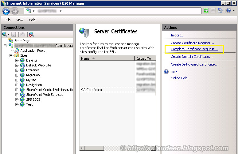 complete certificate request CSR