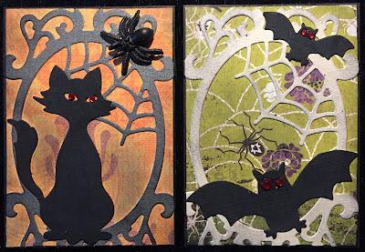 Halloween cat + bats ATC (Artist Trading Card)
