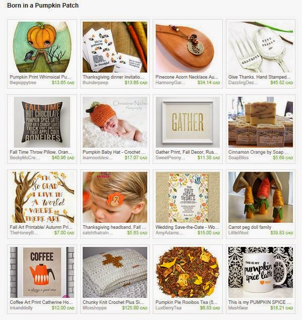 An Etsy Treasury of orange and pumpkin goodness. Made in Canada. via www.creativeclementine.com