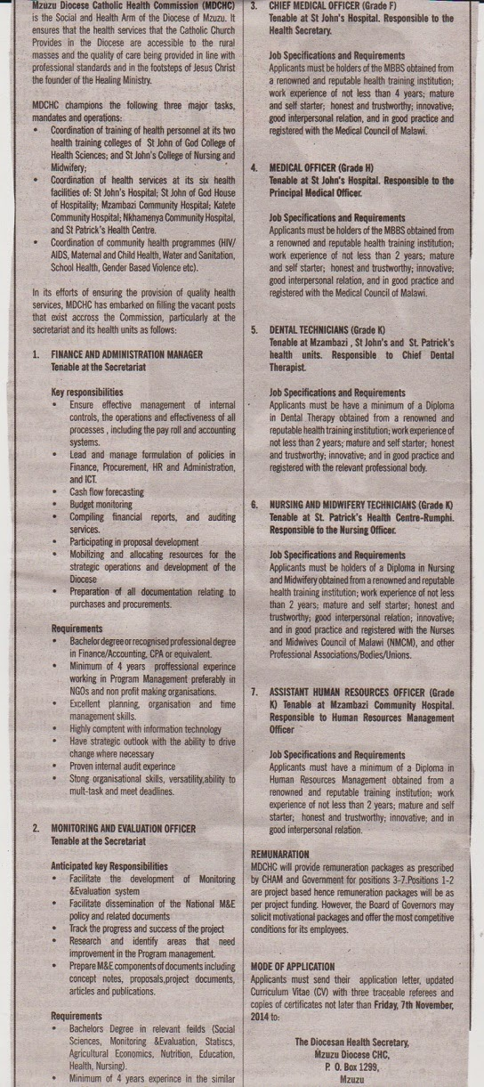 Jobs at Mzuzu Diocese Catholic Health Commission - Oct 2014