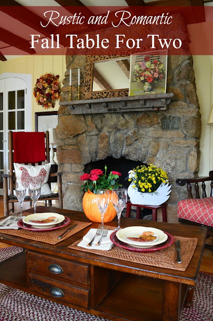 Rustic and Romantic Fall Table For Two Pinterest Graphic