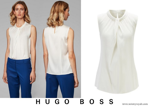 Queen Letizia wore Hugo Boss Iyabo silk top