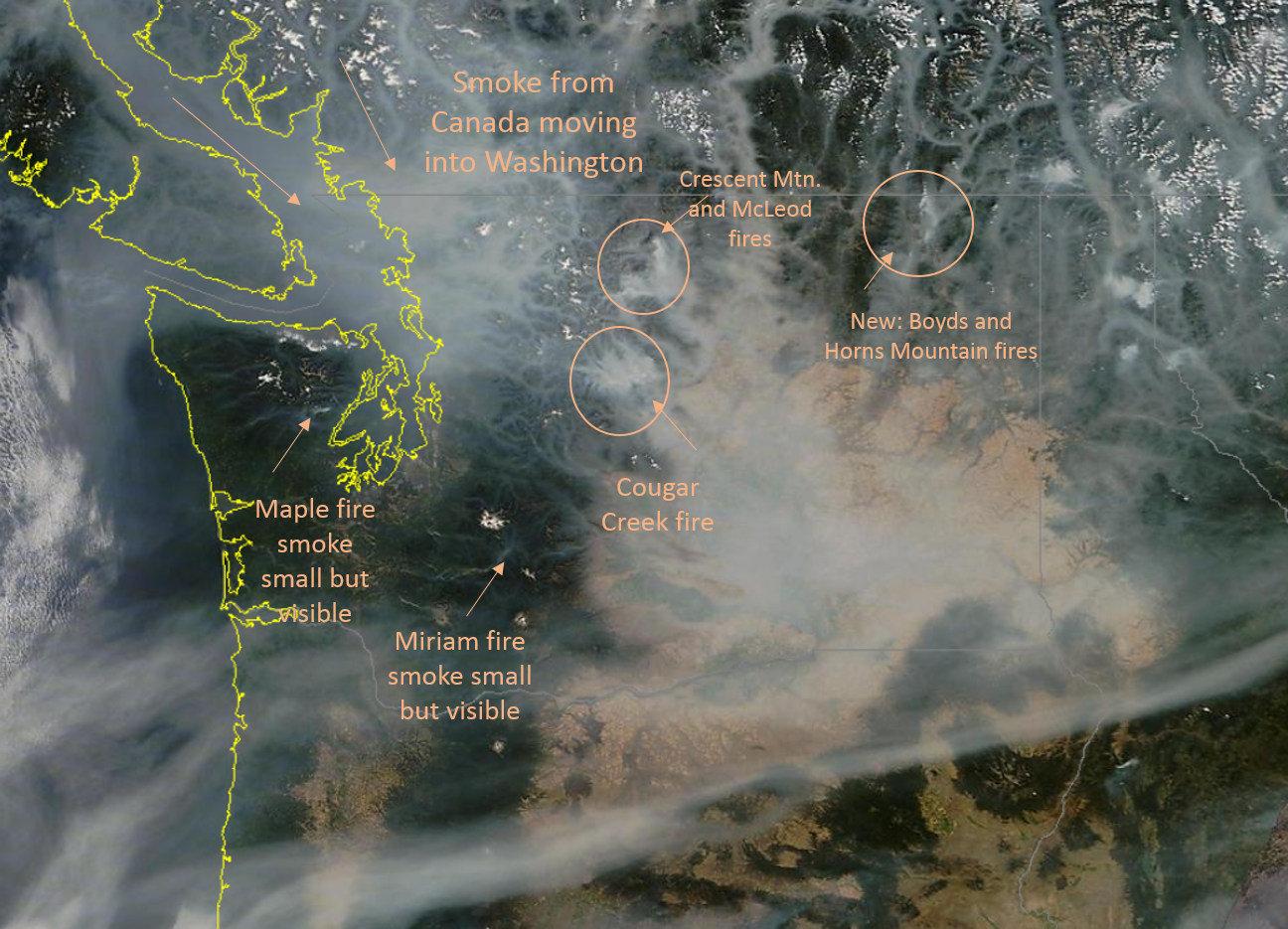 the most to poor air quality around the state satellite photo from about 2pm this afternoon original large image can be seen here modisaug13