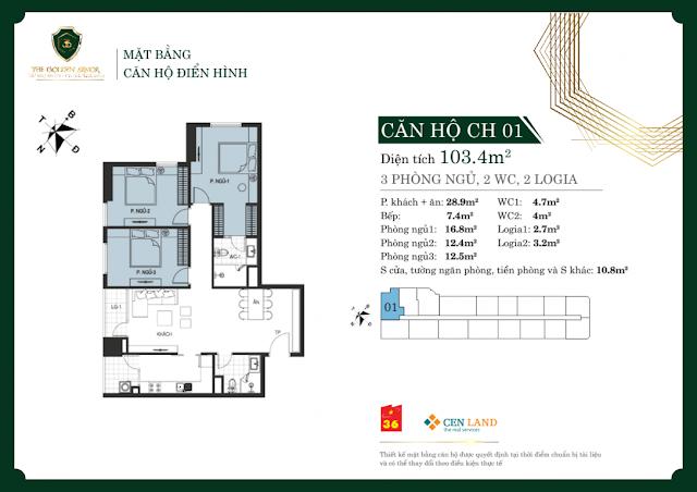 Thiết kế căn hộ 01 diện tích 103m2
