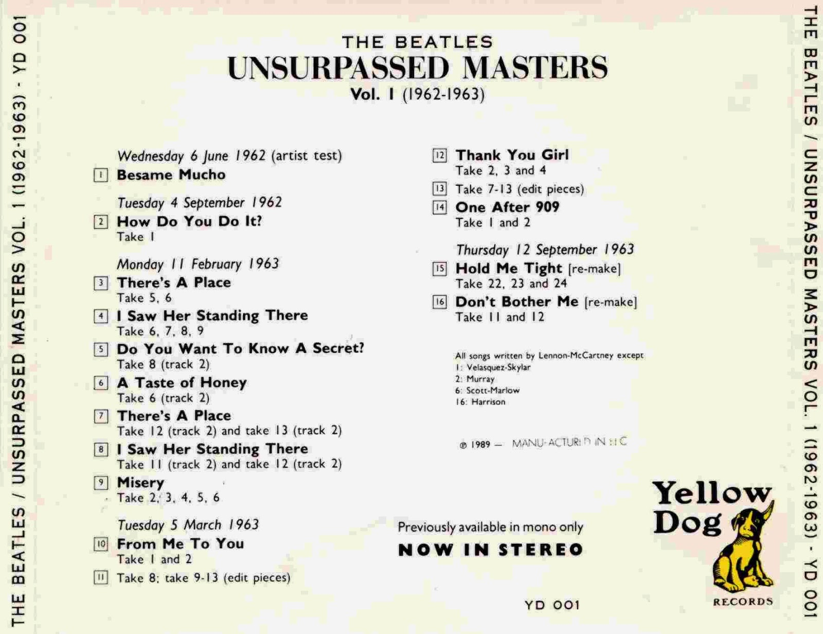 Rock Anthology: The Beatles - Unsurpassed Masters vol 1 (1962-1963