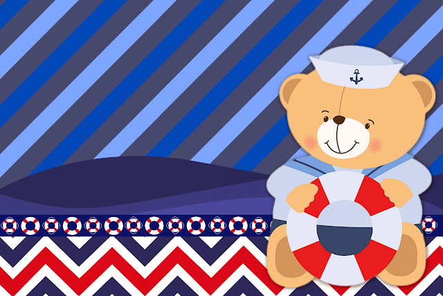 Sailor Bear: Free Printable Invitations, Labels or Cards.