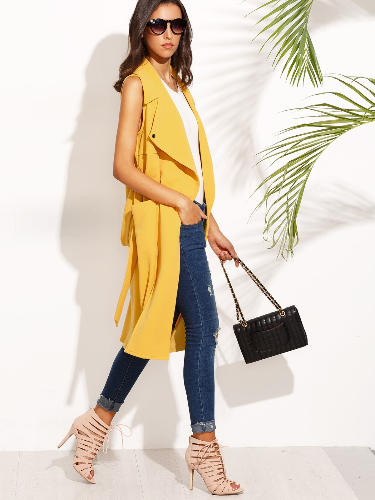 long yellow vest