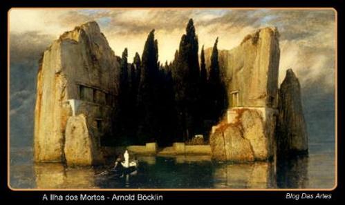A ilha dos mortos, pintura de Arnold Böcklin. #PraCegoVer