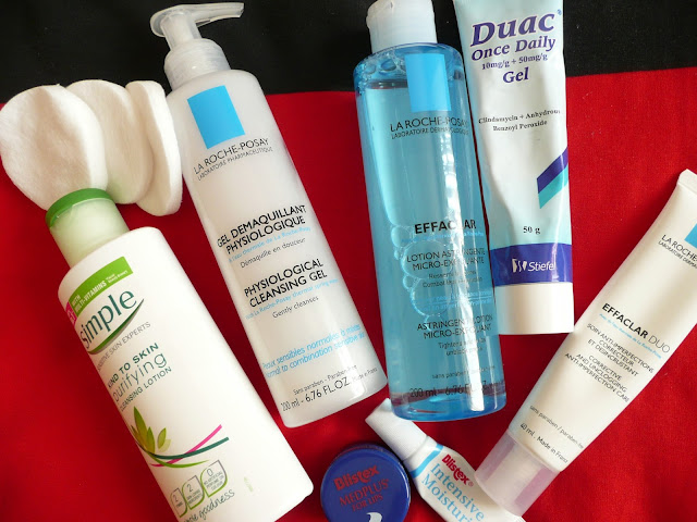Evening Skincare Routine for Oily Acne-Prone Skin Affordable High Street Simple La Roche Posay Blistex Duac