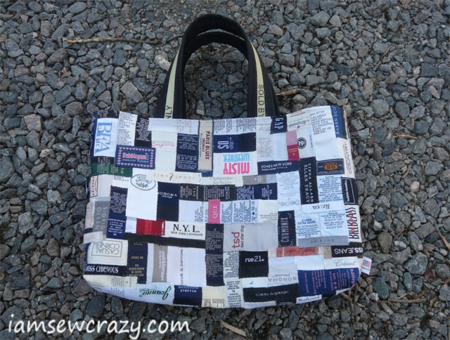 Learn how to make a tote bag by repurposing clothing labels. Tutorial by I Am Sew Crazy.