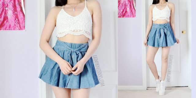 A cute summer outfit featuring the lace-up back crochet trim white halter crop top bralette from Dresslink, paired with a tie-waist button-down denim skater skirt.