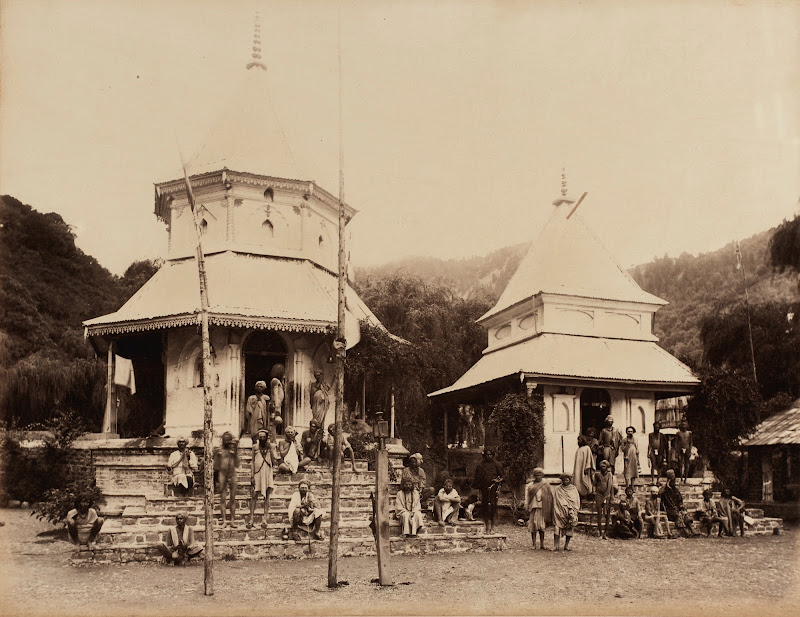 Group Photos of Sadhus (Religious Ascetic)  in front of a Temple - North India, c. 1890's