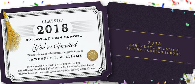 purple graduation party diploma invitation