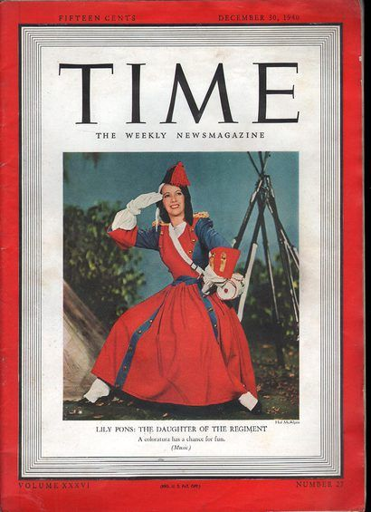 30 December 1940 worldwartwo.filminspector.com Lily Pons 30 December 1940 Time Magazine