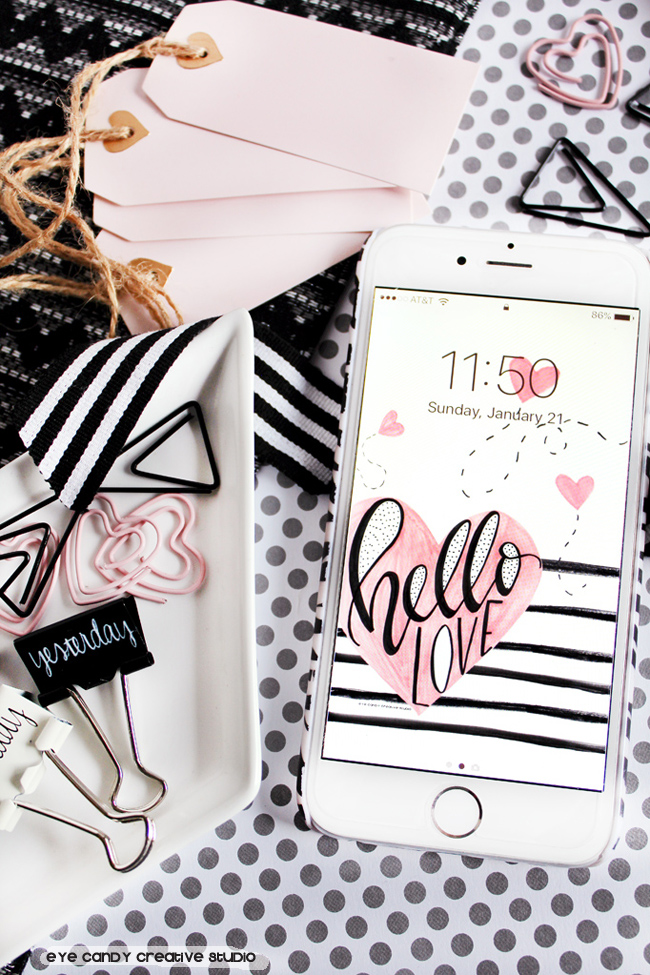 hand lettered, hello love, valentines cell phone wallpaper, freebie