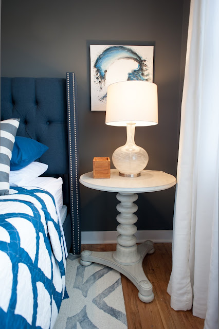 Beachy bedroom white side table