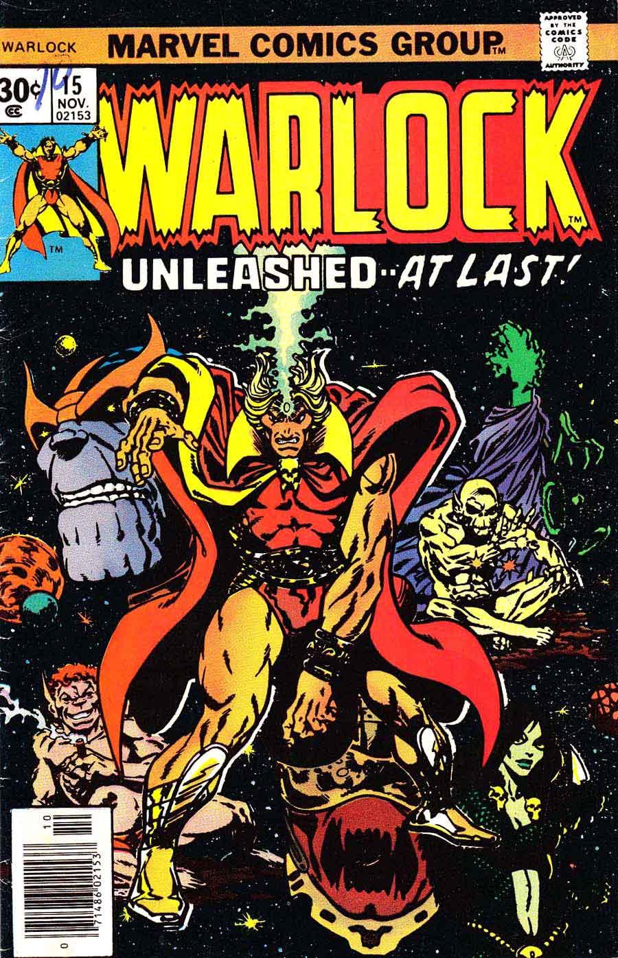 Warlock v1 #15 marvel 1970s bronze age comic book cover art by Jim Starlin