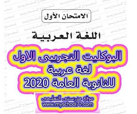 البوكليت التجريبى الاول لغة عربية للثانوية العامة 2020