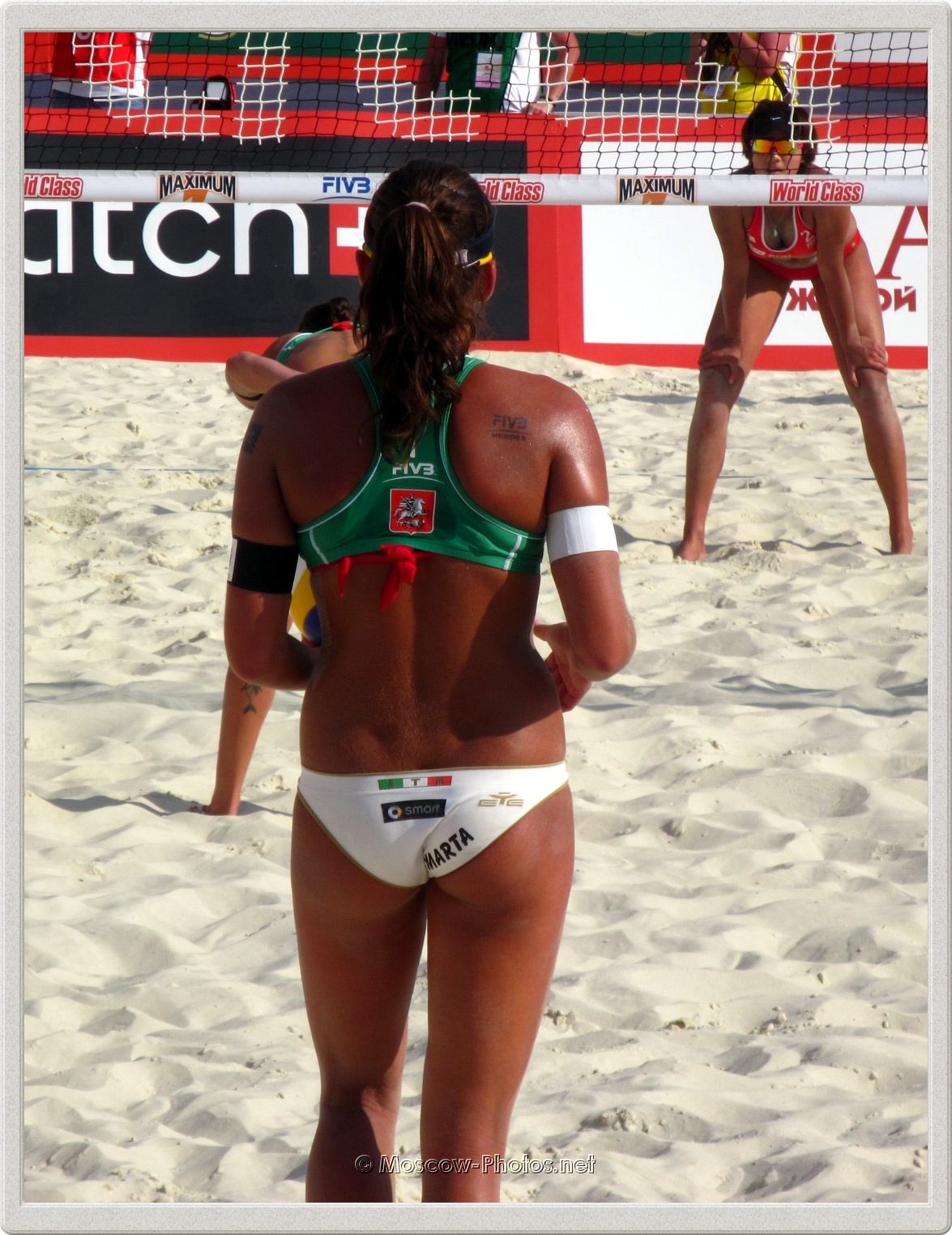 Serve of Italian Beach Volleyball Player Marta Menegatti