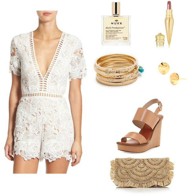 white lace romber with straw clutch