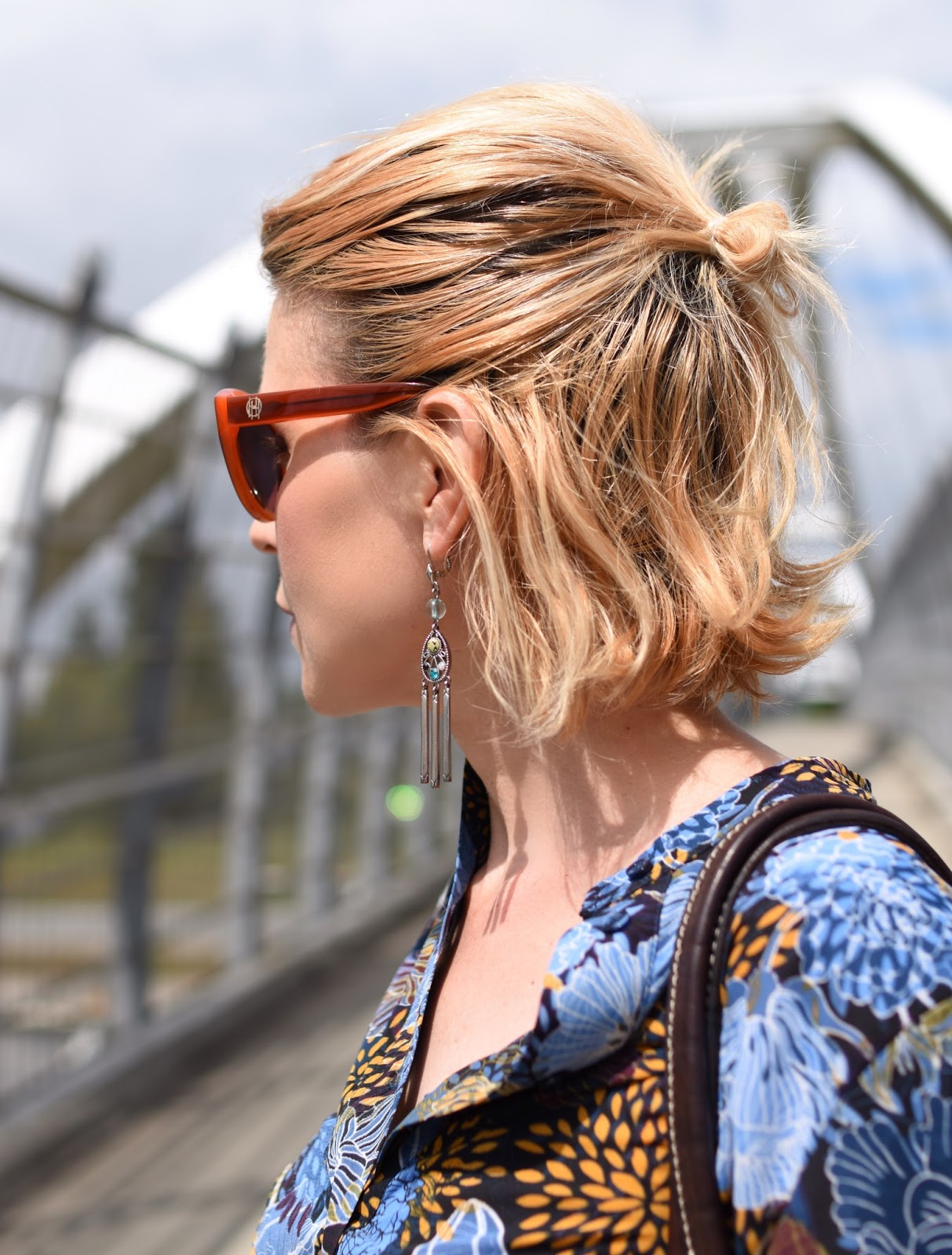 floral blouse, House of Harlow 1960 sunglasses