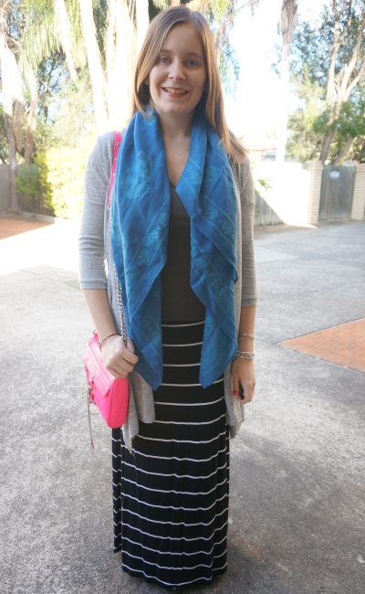 Petite winter maxi skirt outfit long loose layers skull scarf and stripes | Away From The Blue