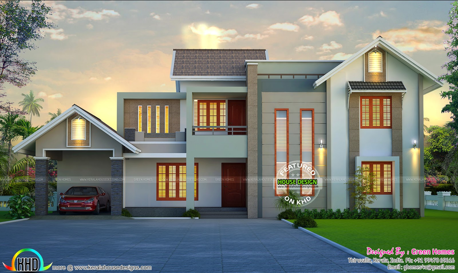 Beautiful home design by Green Homes Thiruvalla Kerala
