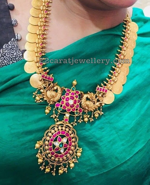 Kasu Mala with Peacocks and Ruby Pendant