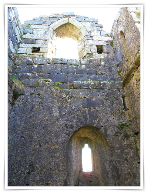 Looking inside of the chapel or hermitage at Roche Rock, Cornwall