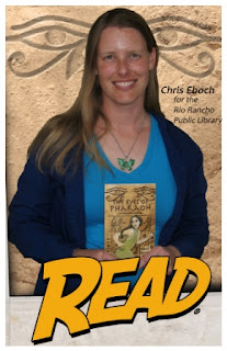 Author Chris Eboch with The Eyes of Pharaoh novel