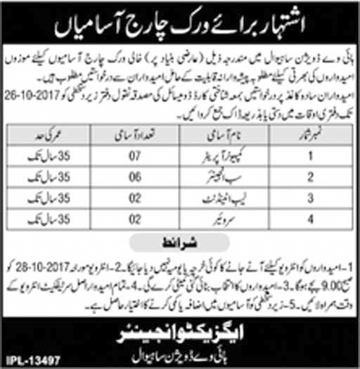 Jobs In Executive Engineer Highway Division Sahiwal 2017