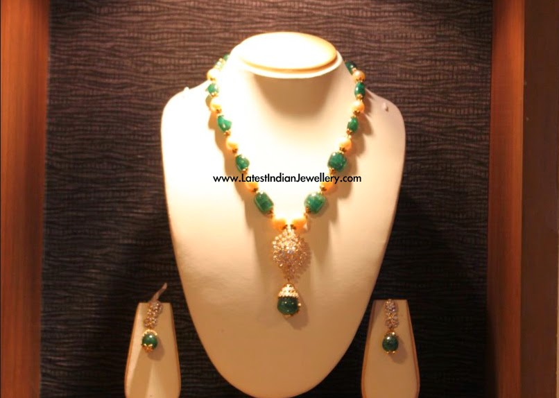 Emerald Pearls Diamond Beads Necklace