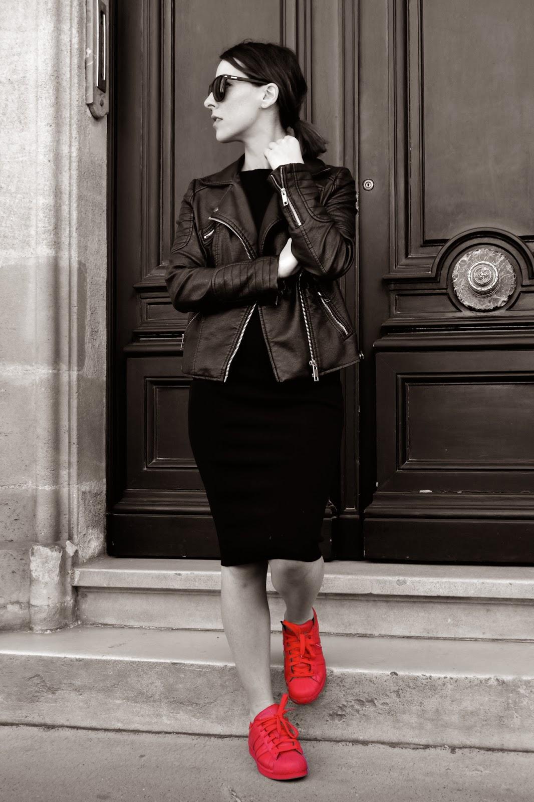 superstar rouge femme look
