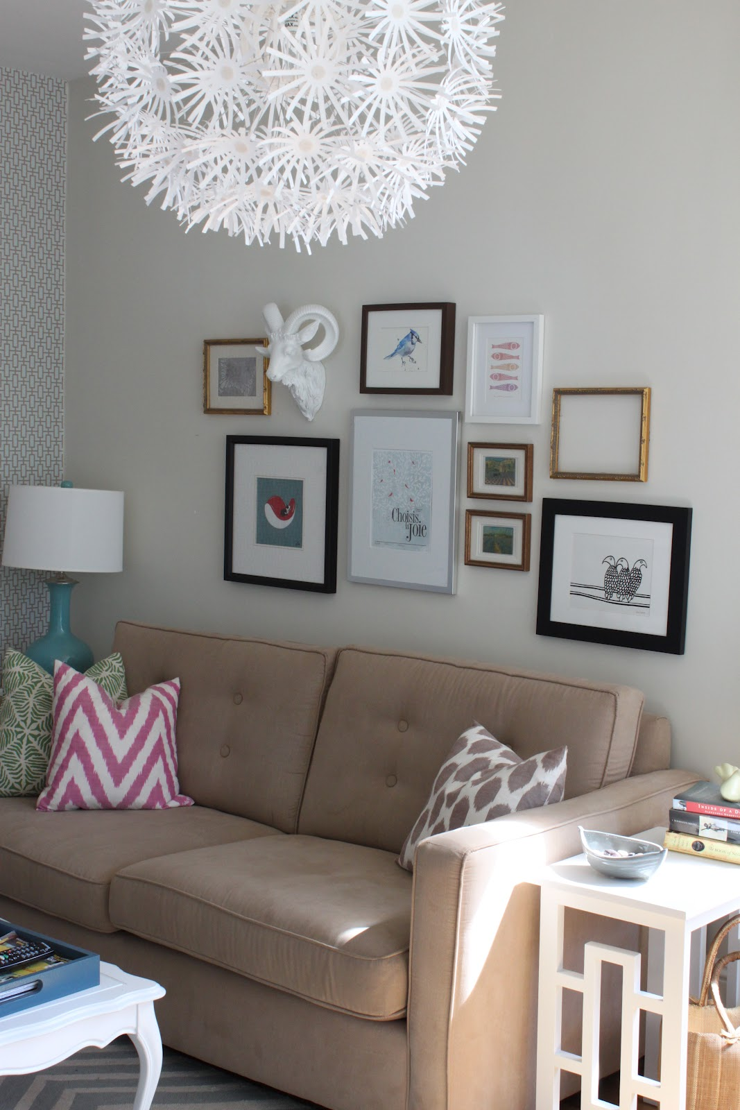 Modern Jane Gallery Wall Over The Sofa