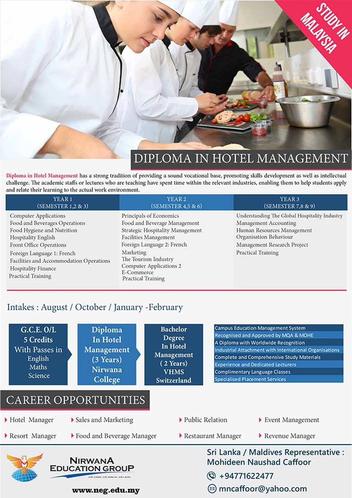Diploma in Hotel Management has a strong tradition of providing a sound vocational base, promoting skills development as well as intellectual challenge. The academic staffs or lectures who are teaching have spent time within the relevant industries, enabling them to help students apply and relate their learning to the actual work environment.