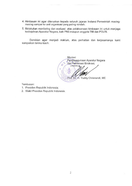 Surat Menteri PANRB Tentang Himbauan Untuk Tidak Memberikan Cuti Tahunan Sesudah Cuti Bersama Idul Fitri 1437 H