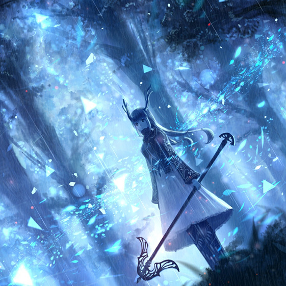 Anime Girl Blue Particle Forest Wallpaper Engine