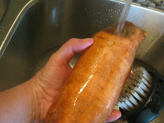 When preparing sweet potato snacks for your dog, scrub the sweet potatoes well.