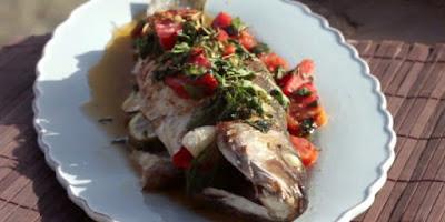 سمك قاروص بصوص الريحان