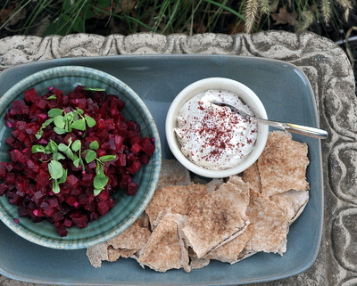 Beet Salad with Sumac, Yogurt & Pita ♥ AVeggieVenture.com, a quick beet salad turned appetizer when served with a garlicky yogurt sauce and fresh pita bread. Low Carb. Weight Watchers Friendly. Quick-Quick to Make.
