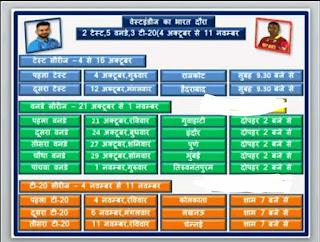 भारत बनाम वेस्टइंडीज के सभी मैचों के कार्यक्रम की जानकारी