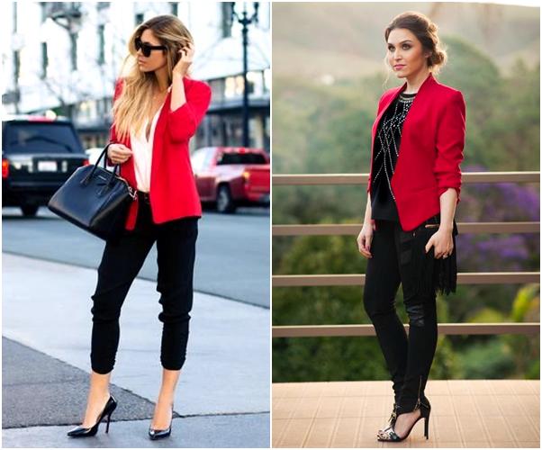 Os Melhores Looks para Usar no Natal básico blazer vermelho