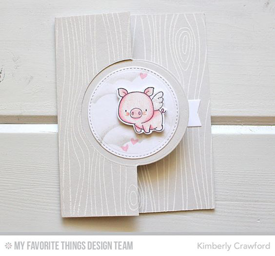 Handmade card from Kimberly Crawford featuring Hog Heaven stamp set and Die-namics, Whimsical Woodgrain Background stamp, Flop Card - Circle, Stitched Cloud Edges, and Blueprints 29 Die-namics #mftstamps