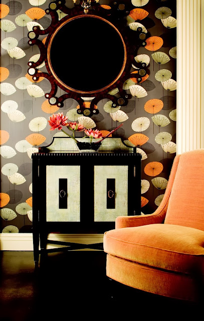 perfect modern black, white, green and orange floral print wallpaper