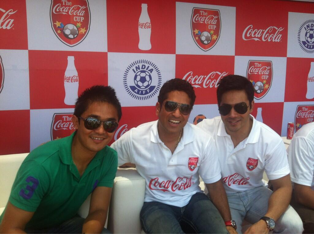 Sunil Chhetri , Sachin Tendulkar and Varun Dhawan at a Promotional Event