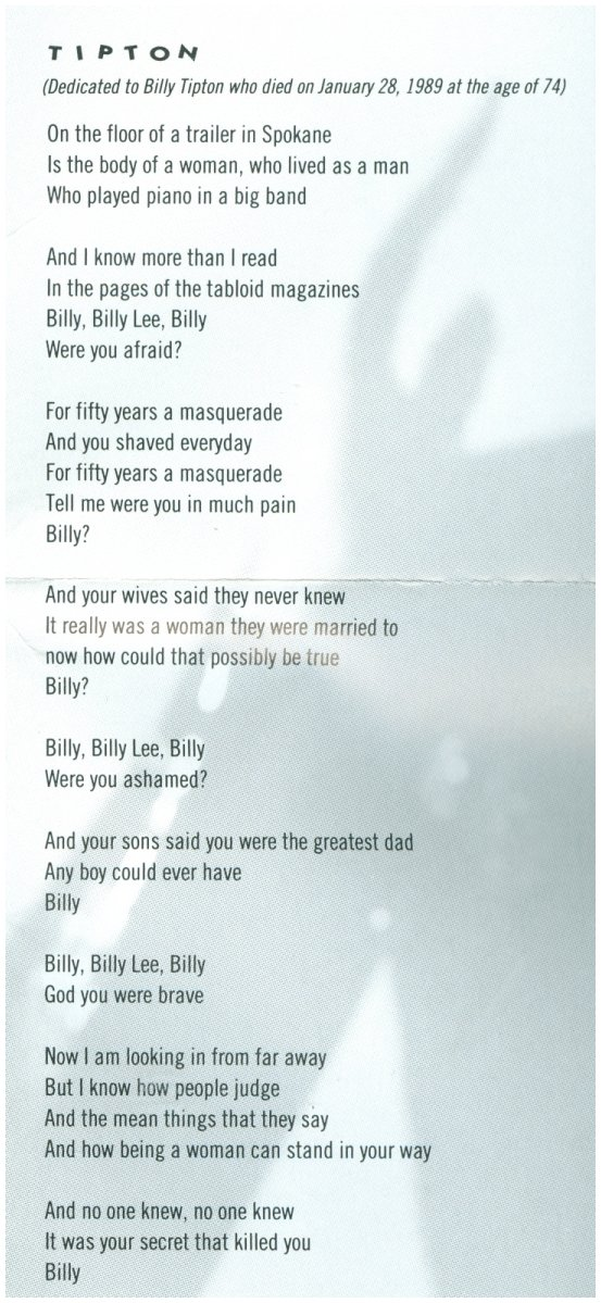Lyric god is dead lyrics : Queer Music Heritage -- The Blog: Songs About Billy Tipton